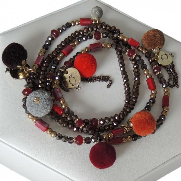 Braune Kette/Wickelarmband/Schuhschmuck aus Kristall-Perlen mit Pompons