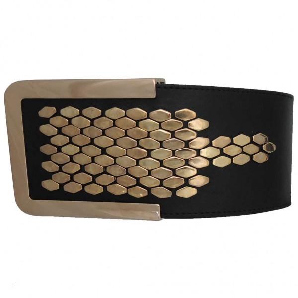 Gürtel aus Italien mit Sechseck-Nieten, rund geschnitten - schwarz gold