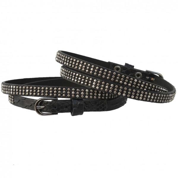 Stiefelbänder zum Wickeln in Reptiloptik mit 3 Reihen Mini-Nieten