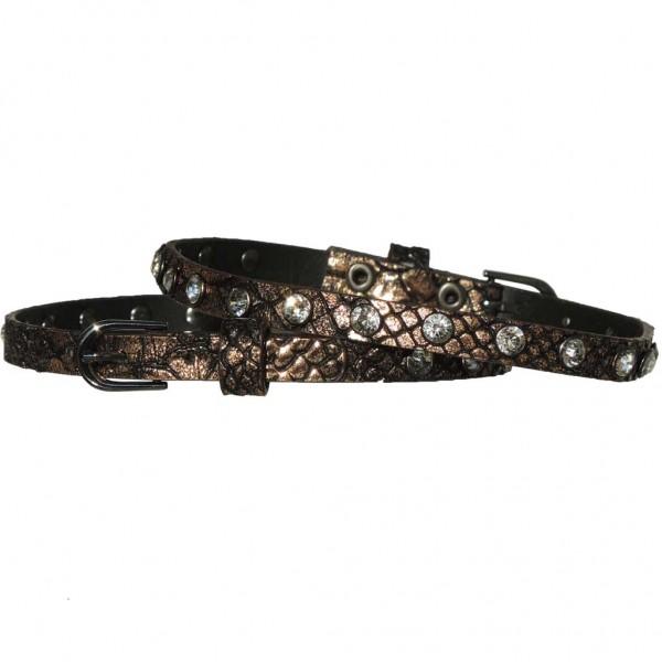 Schmale Stiefelbänder in Reptiloptik mit Strass-Nieten