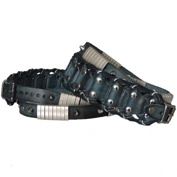 Stiefelbänder aus Kalbsleder zum Wickeln mit geflochtenem Sattel