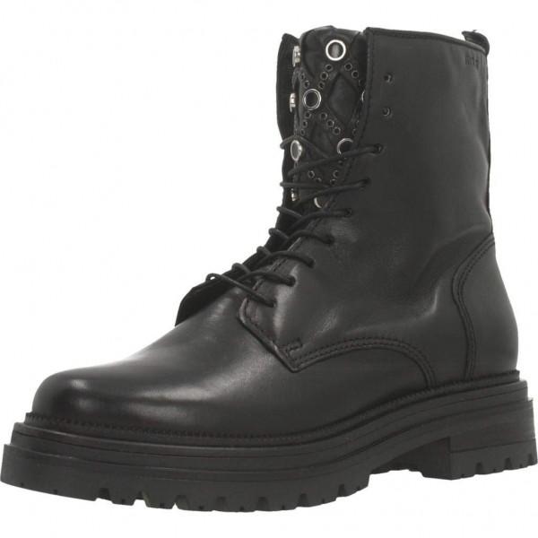 MJUS 158236 Stiefelette Combat Boot aus Leder, Schuhzunge mit Ziernieten, schwarz