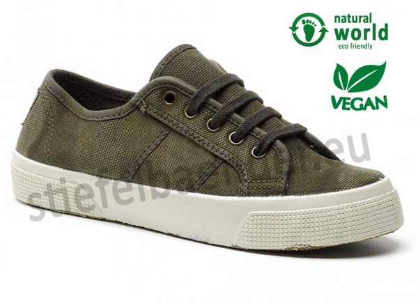 Vegane Sneaker von Natural World aus Spanien Farbe kaki