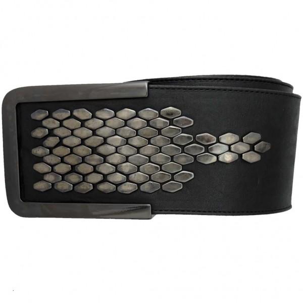Gürtel aus Italien mit Sechseck-Nieten, rund geschnitten - schwarz gun